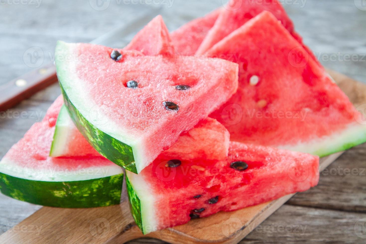 slices of fresh juicy organic watermelon photo