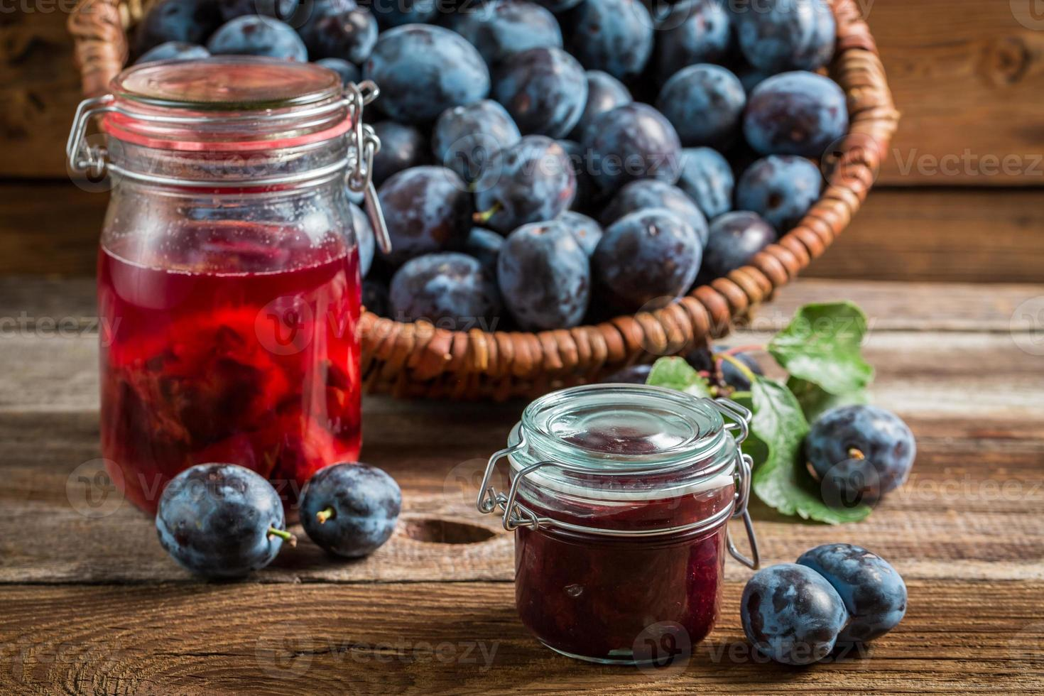 Fresh jam from plum in the pantry photo