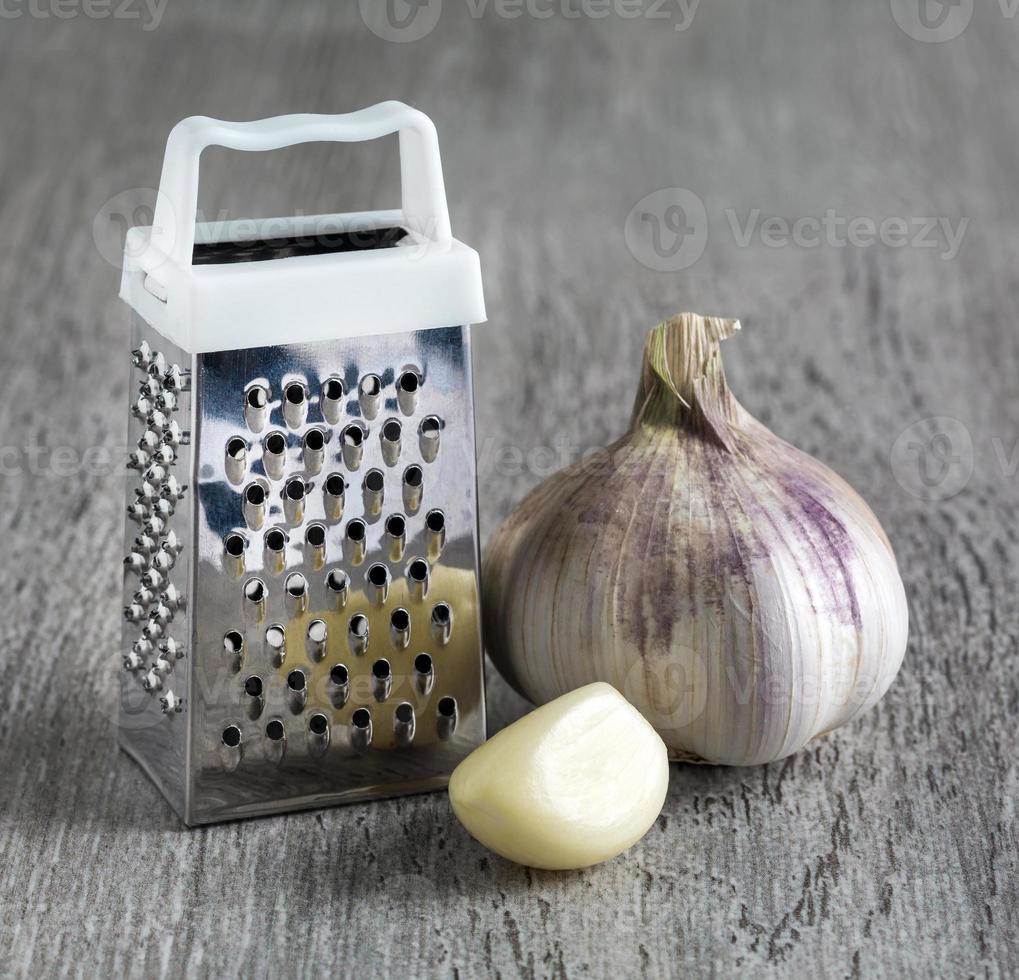 grater garlic.  macro photo