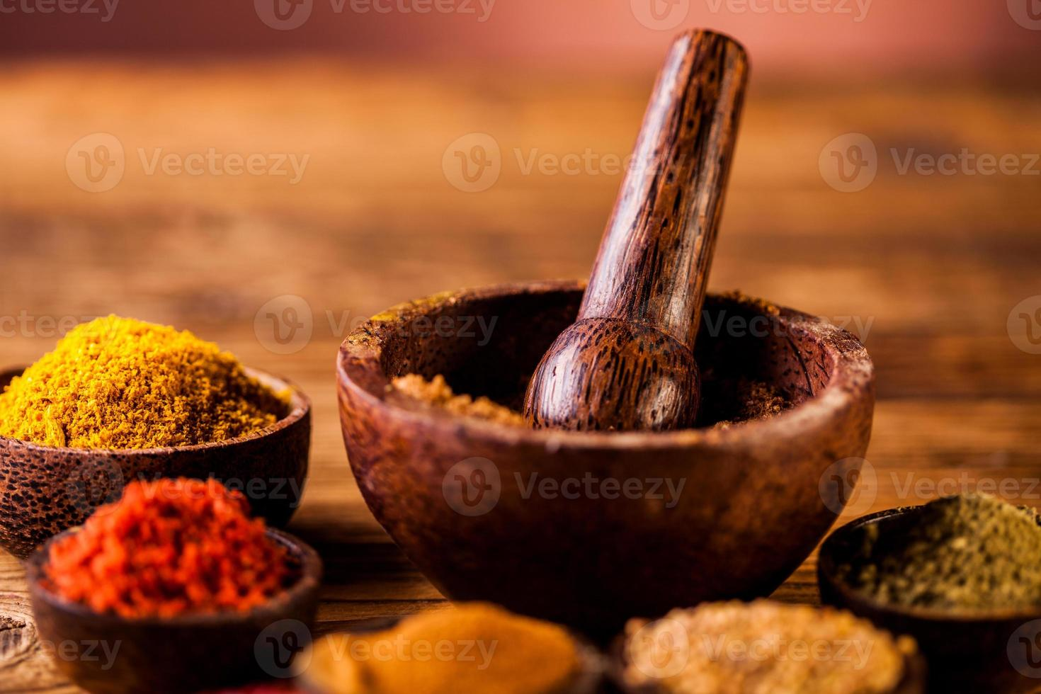 Asian seasoning, oriental theme with spices photo