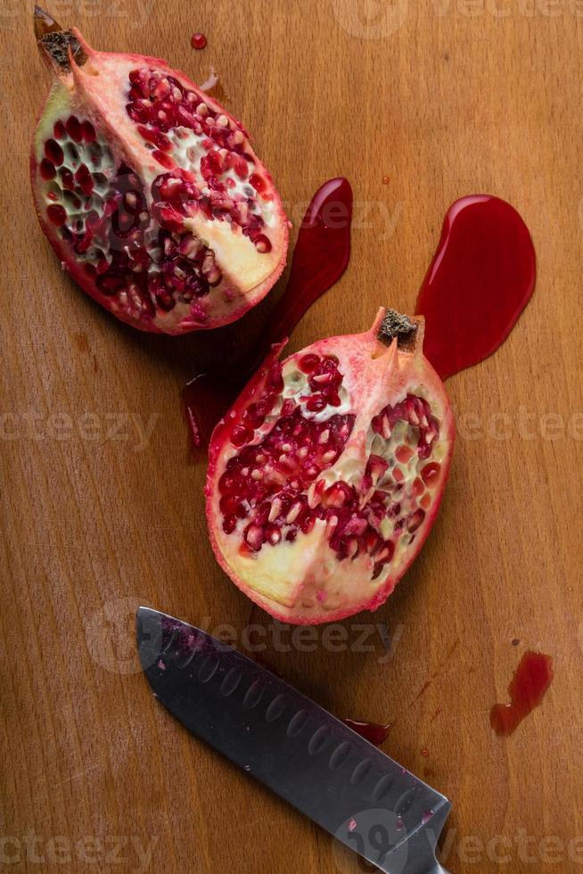 cut pomegranate photo
