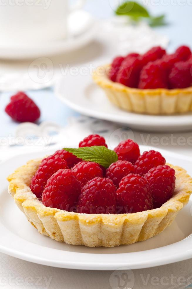 Tartlets with raspberries photo