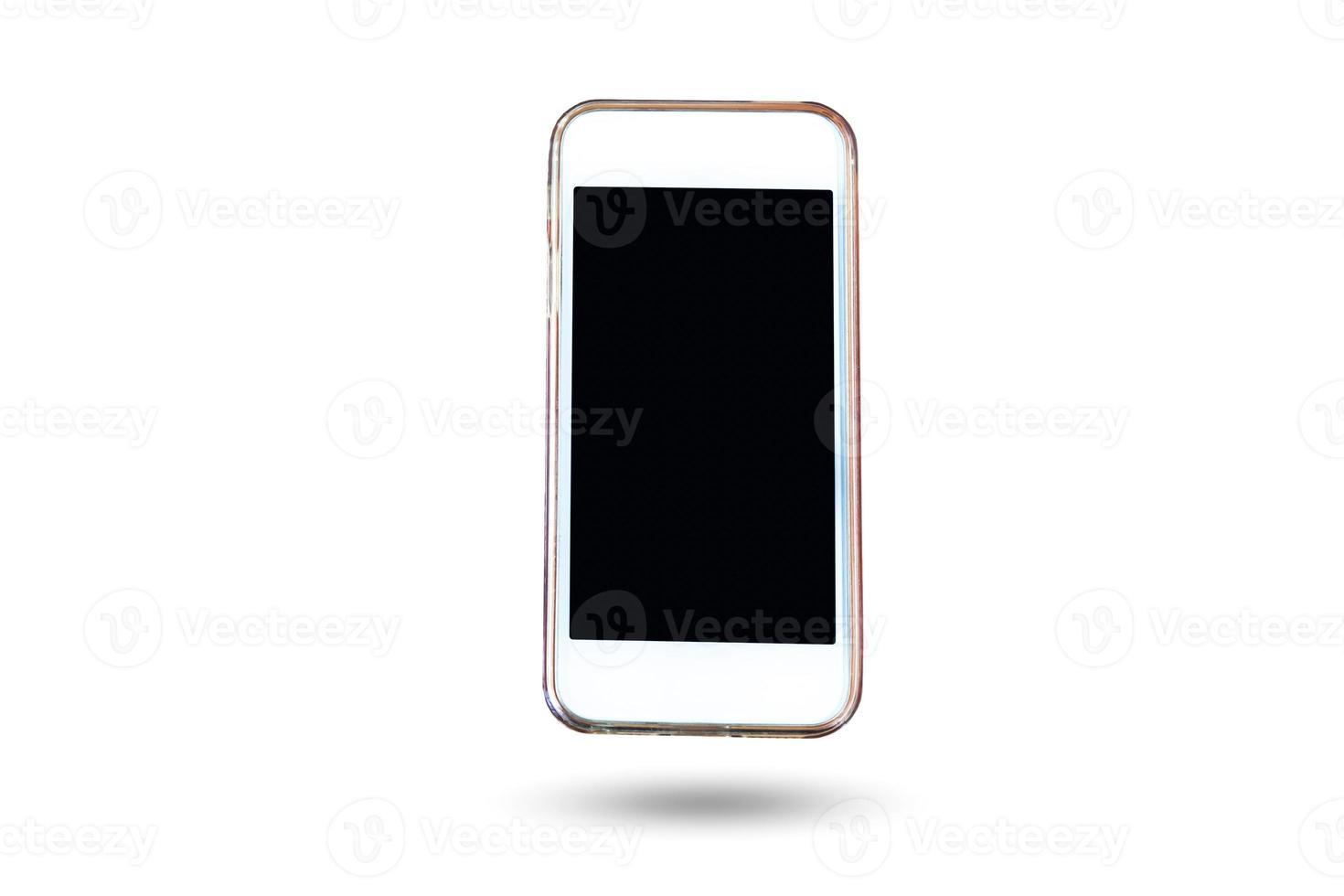 teléfono celular y teléfono inteligente en fondo aislado foto