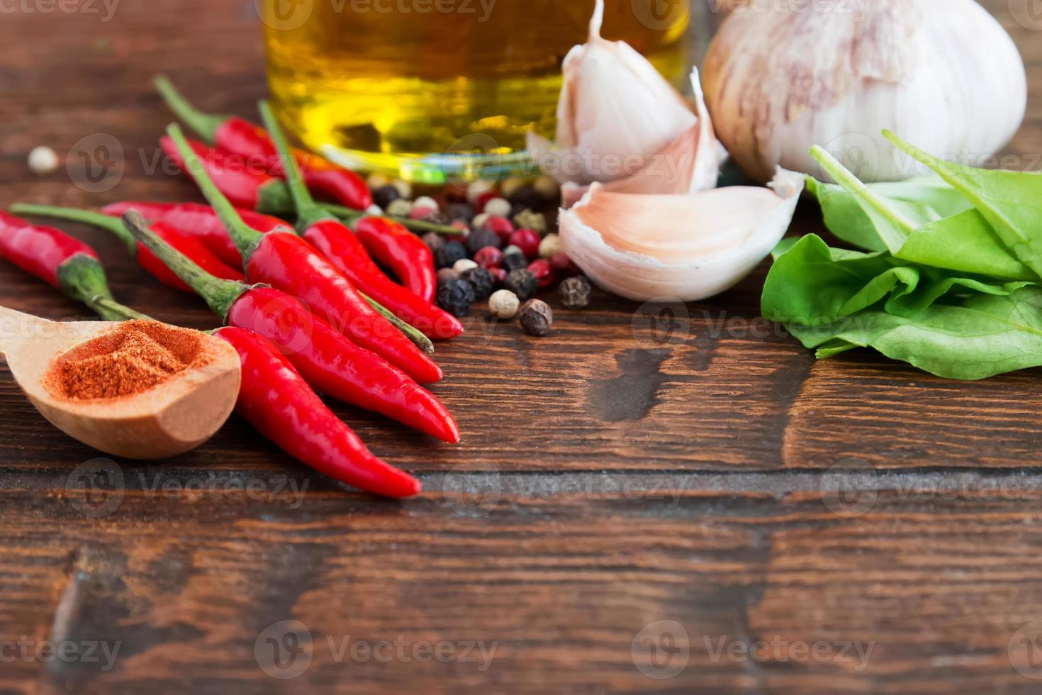 Pepper, garlic and other spices photo