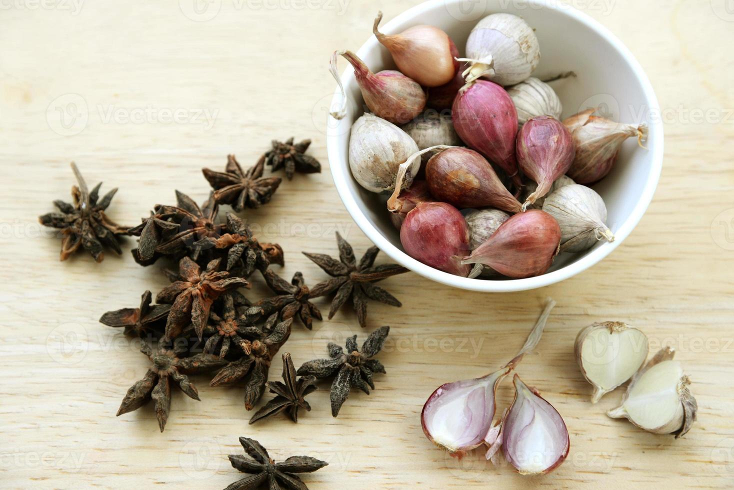 Food ingredients, onion and herb photo