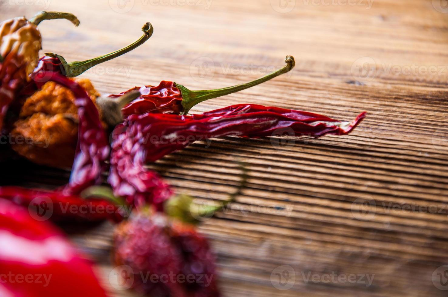 Hot spices in bowls, oriental theme photo