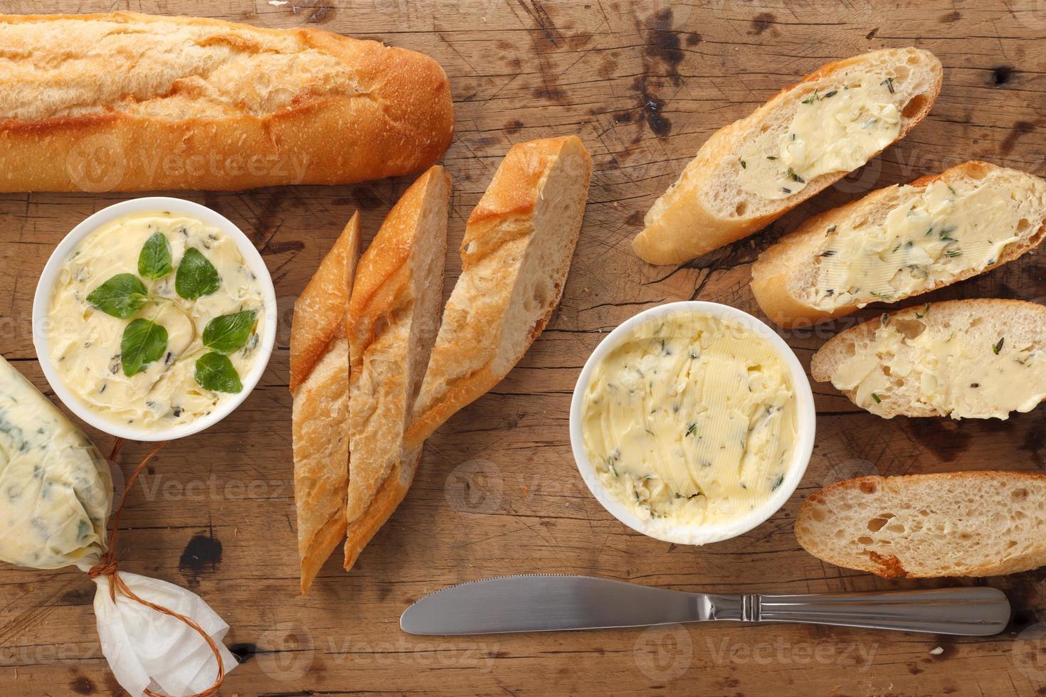 garlic bread compound butter herb baguette thyme rosemary coriander oregano photo