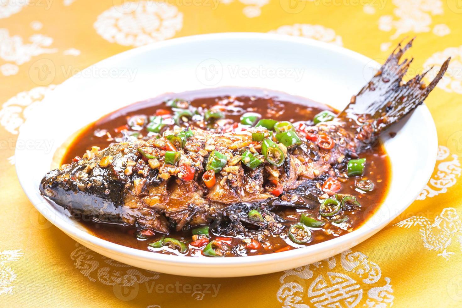 braised carp with chili and garlic photo