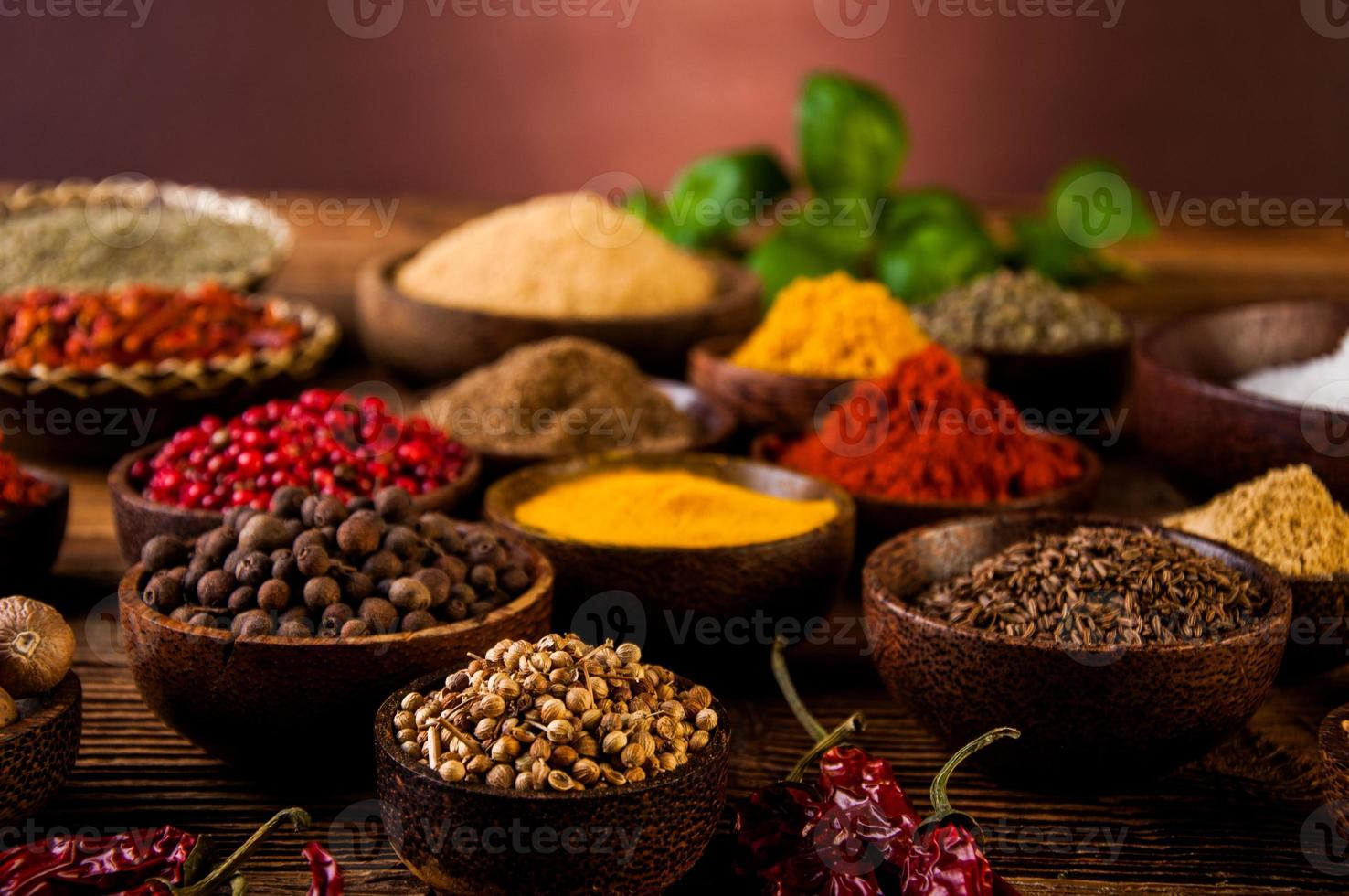 Indonesian seasoning with oriental wooden bowls photo