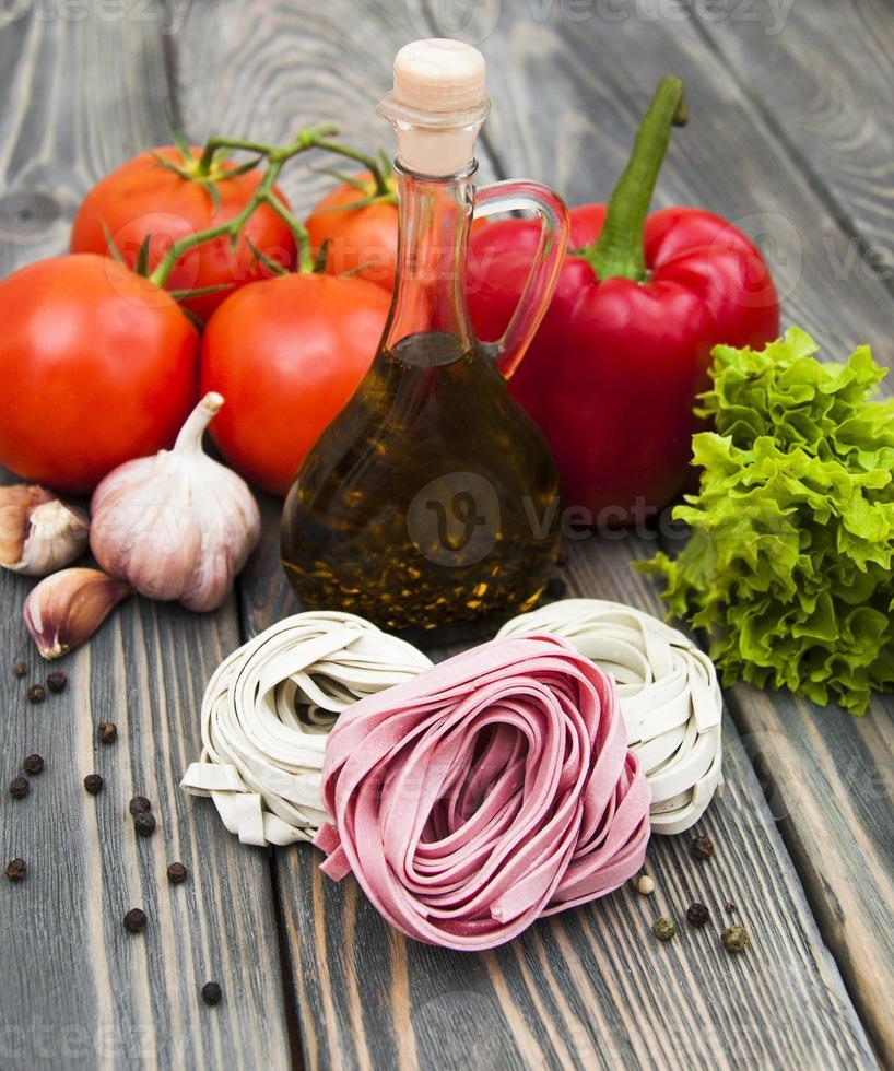 Ingredients for Italian pasta photo