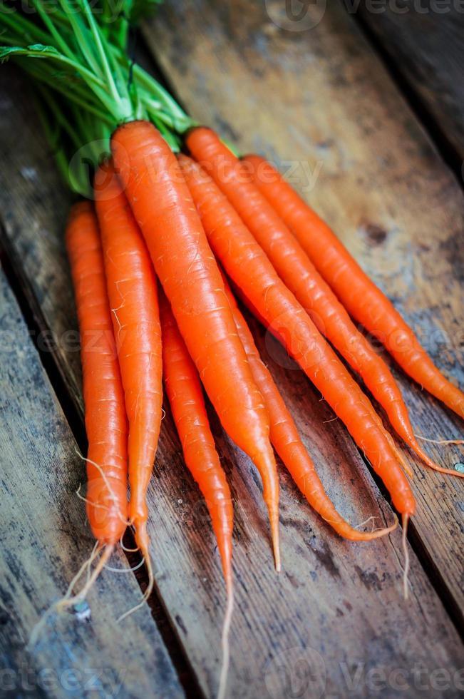 Farm raised organic carrots on wooden background photo