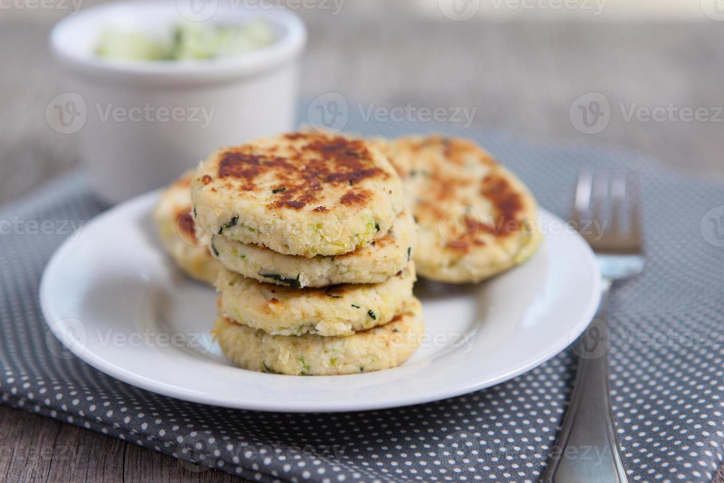 Paleo style zucchini fritters made with coconut flour photo