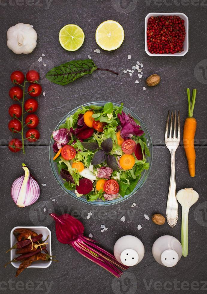 Mixed salad with salad ingredients photo