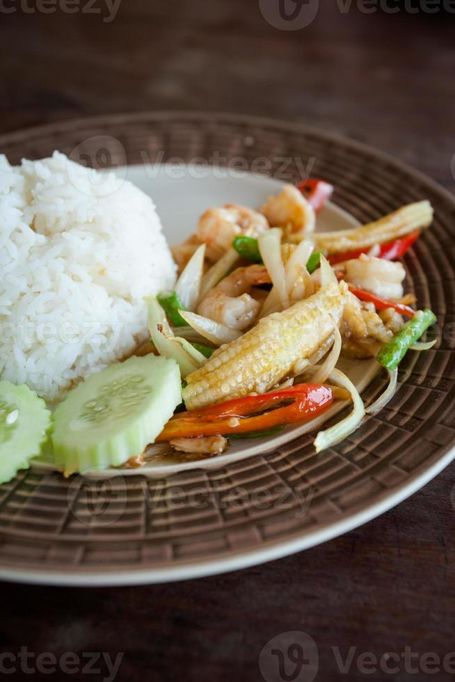 Thai fried prawns with vegetables photo