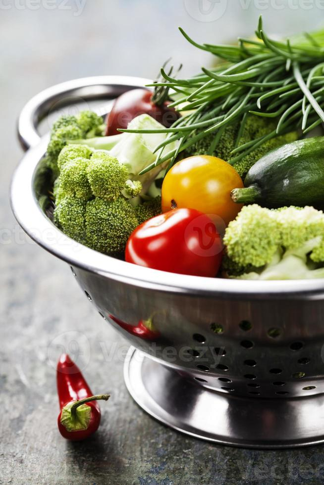 fresh green broccoli and organic vegetables photo