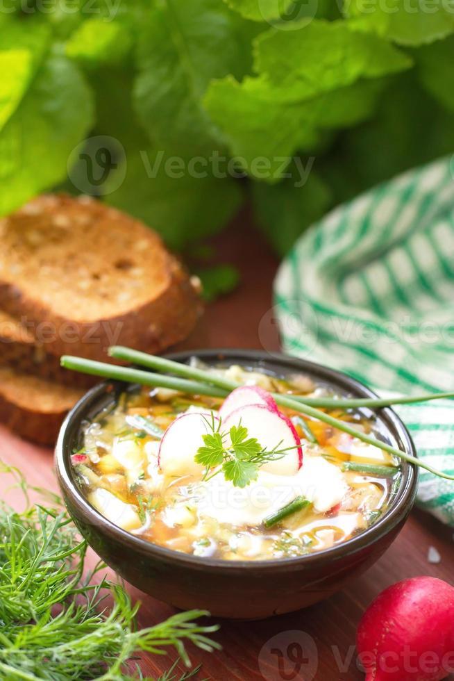 Russian cold soup - okroshka photo