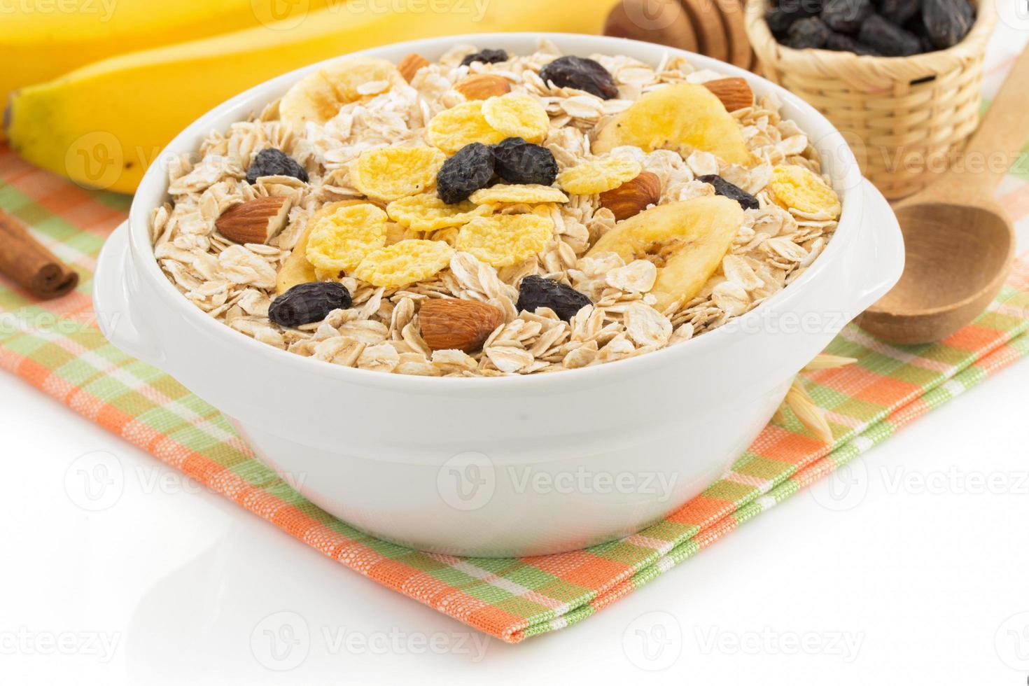 bowl of cereals muesli on white photo