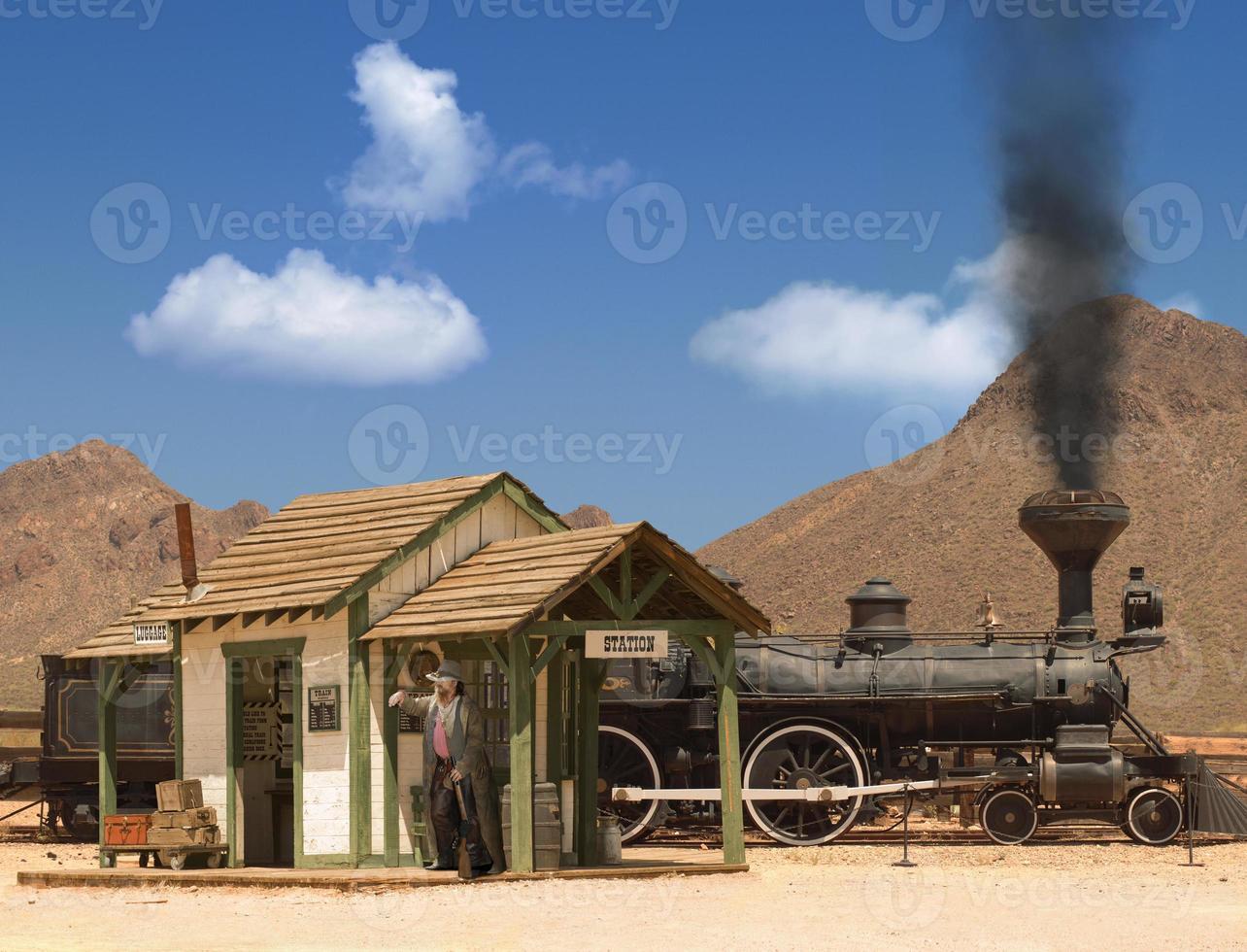 depósito de trenes del viejo oeste foto