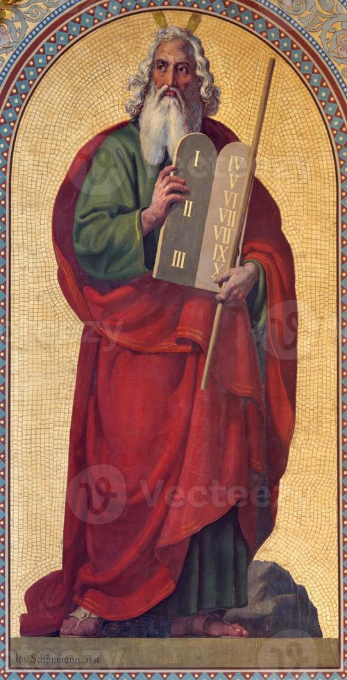Vienna -  Fresco of Moses in Altlerchenfelder church photo