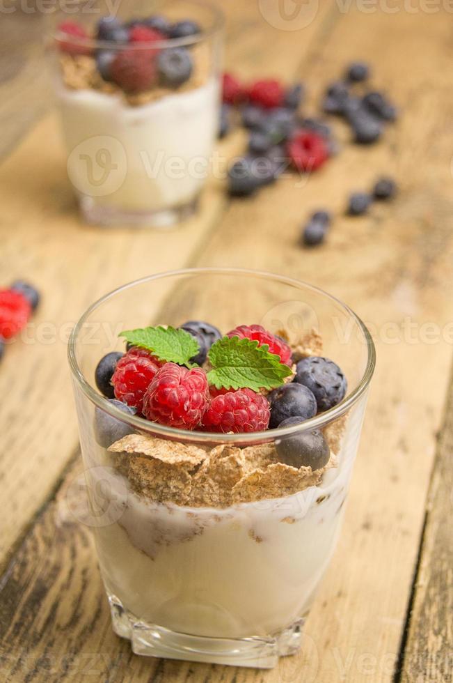 Muesli drink for breakfast photo