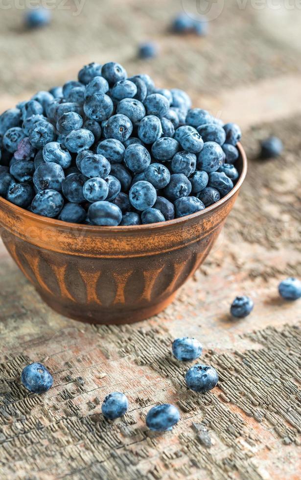 Bowl of fresh blueberries photo