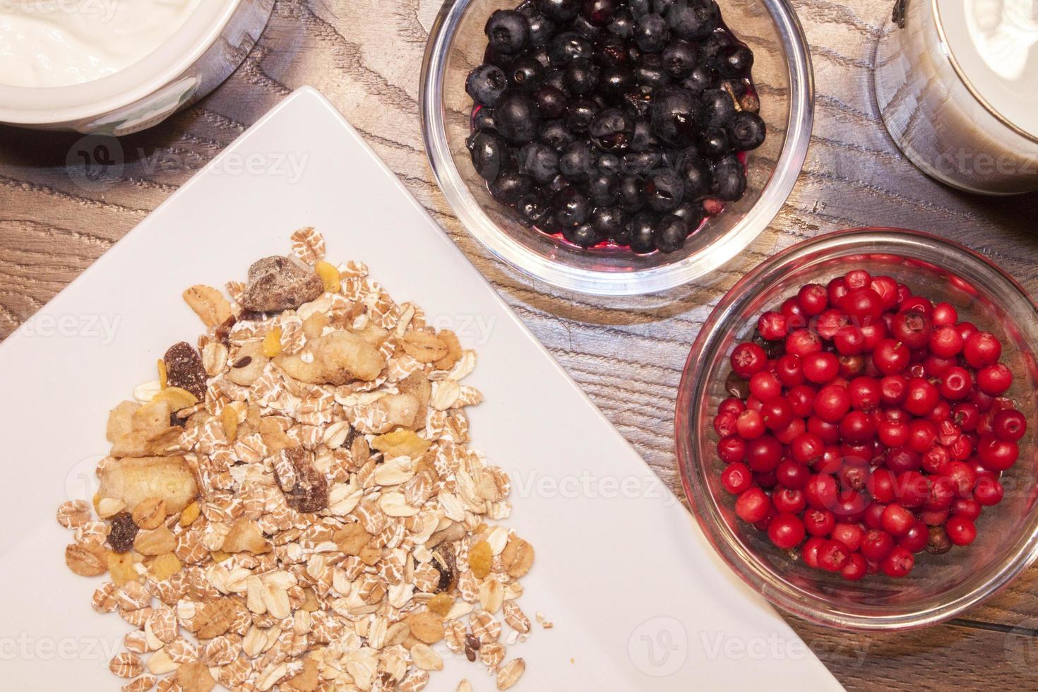 Blueberry, lingonberry and muesli photo