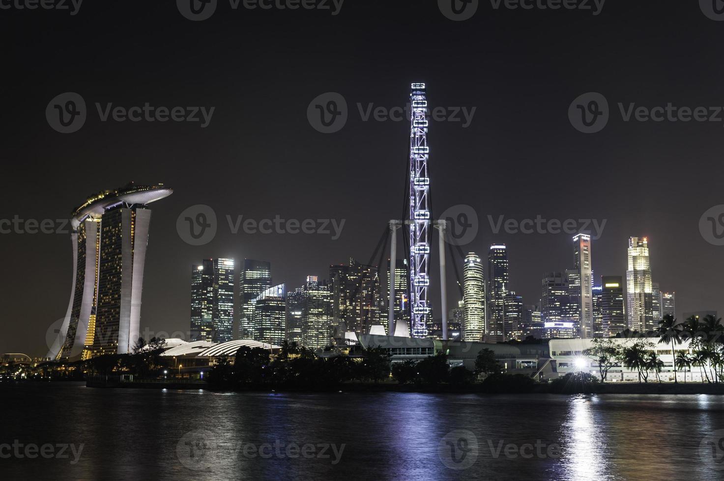ciudad de singapur en la noche foto