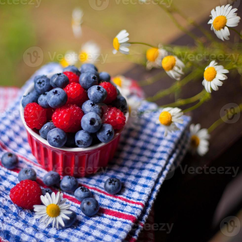 Raspberries and blueberries fruits. photo