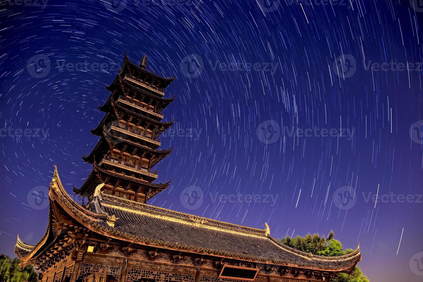 Wuzhen Water Village with Star Trails in China photo
