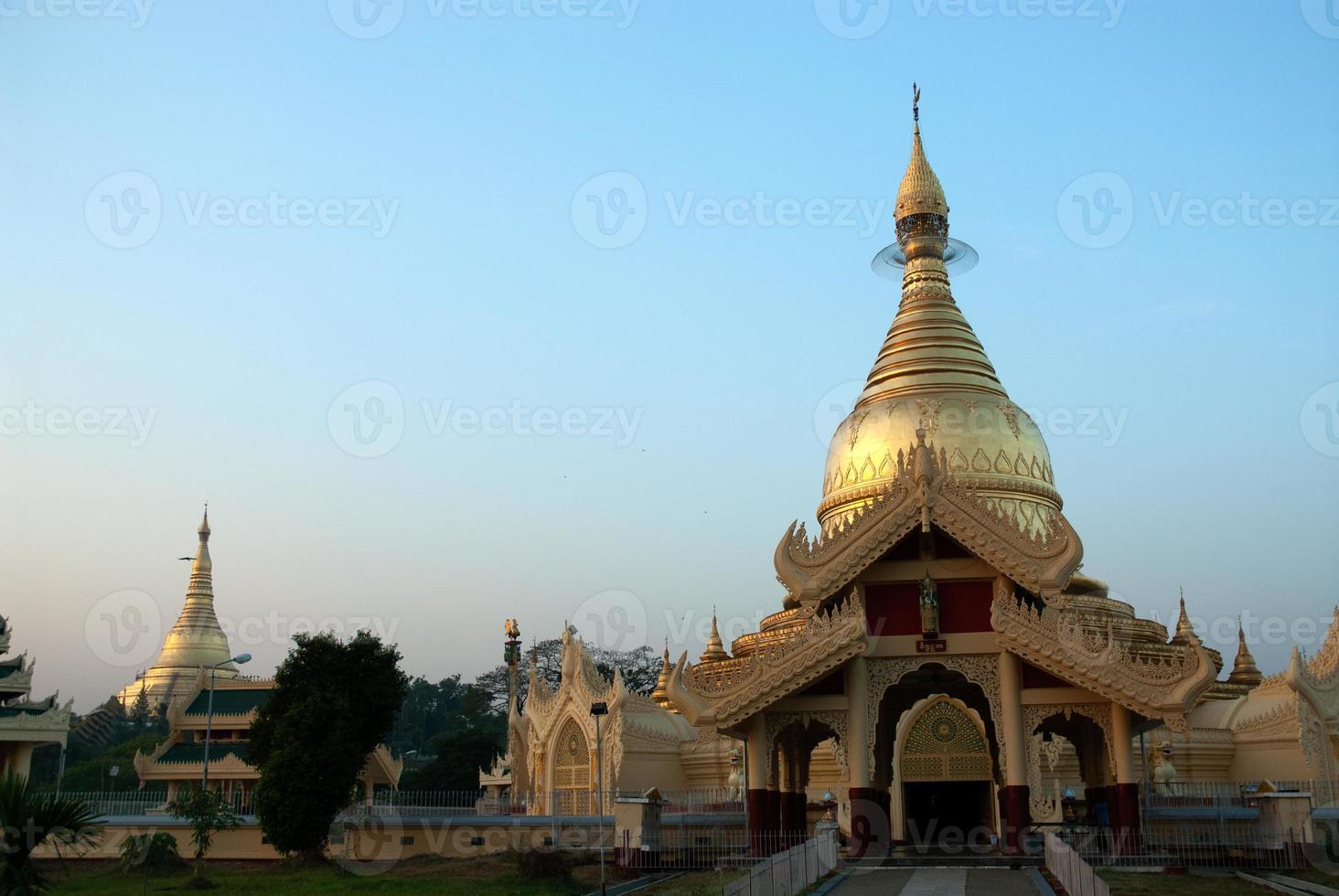 Golden Pagoda in Myanmar temple ,Yangon. photo