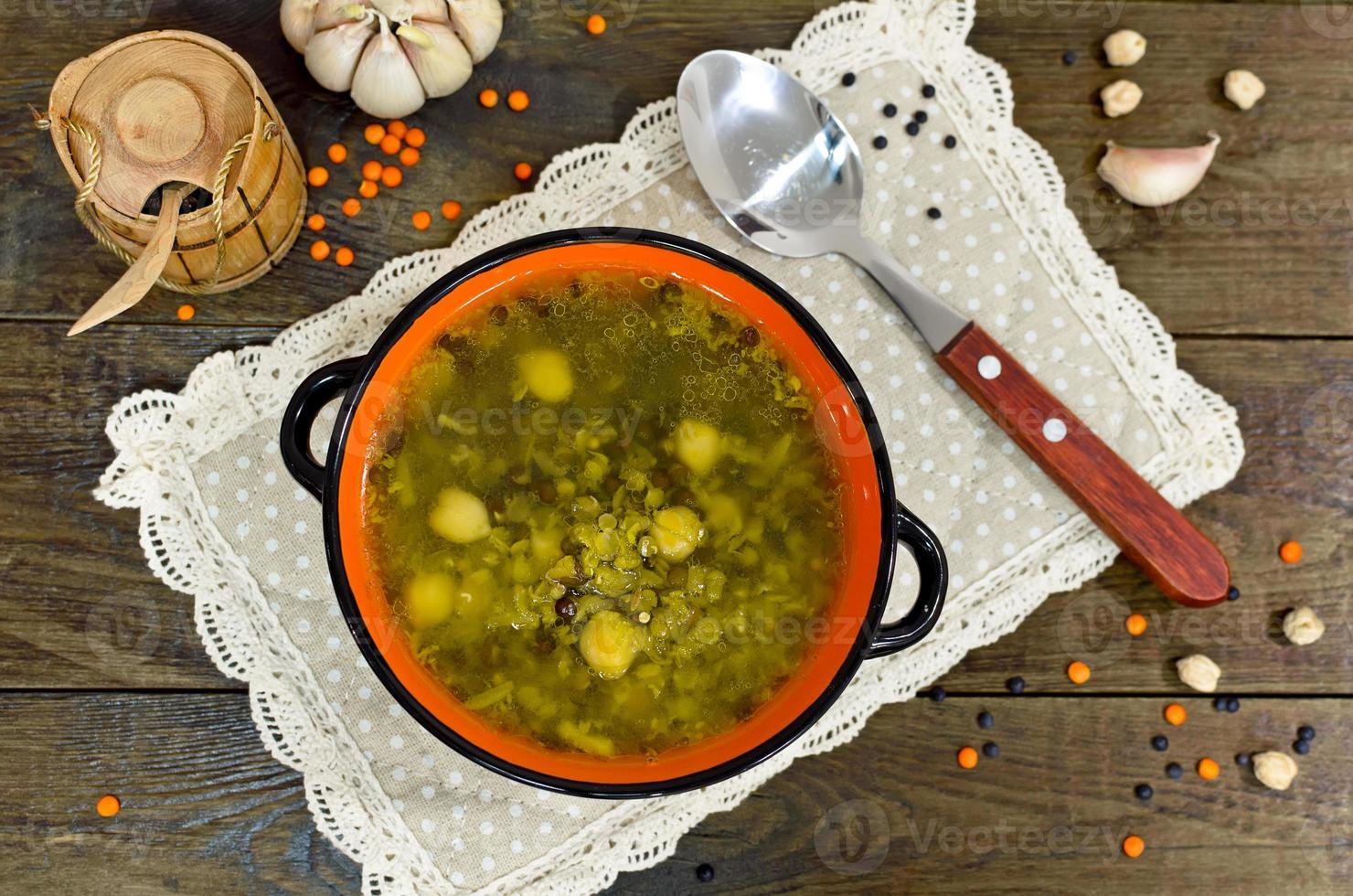 Chickpea and lentil soup photo