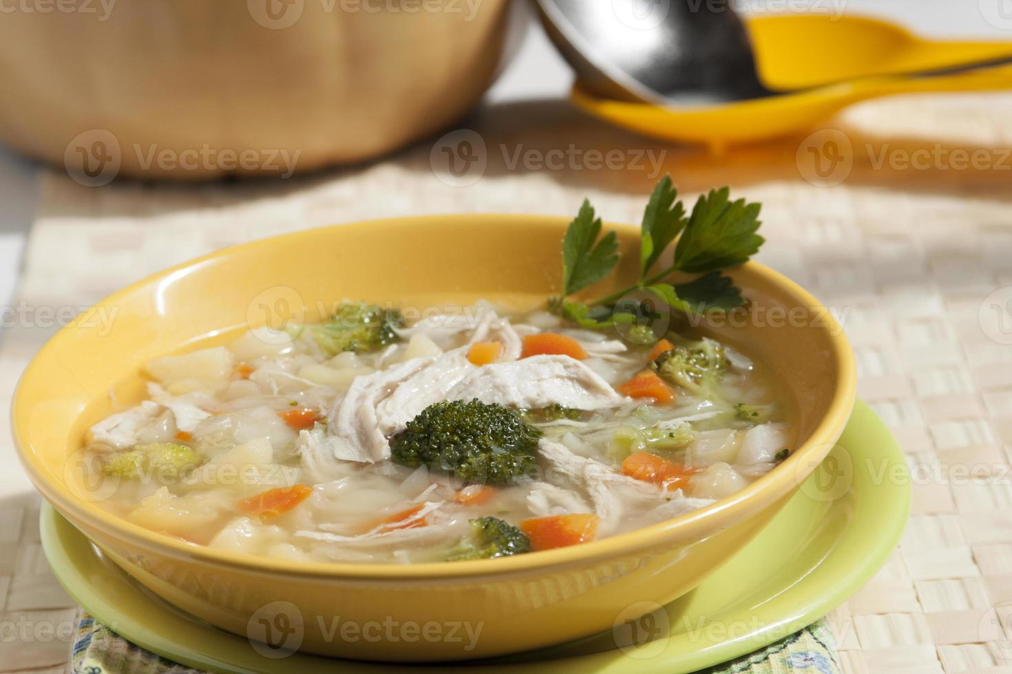 Broccoli soup with chicken photo