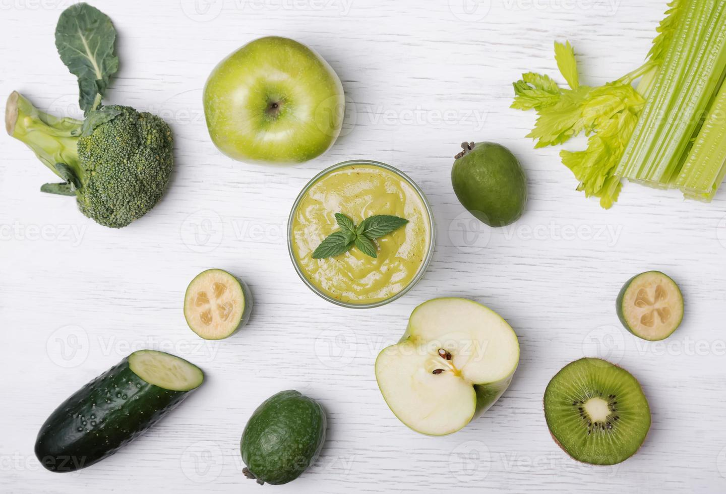 Green colored fruits and vegetables photo