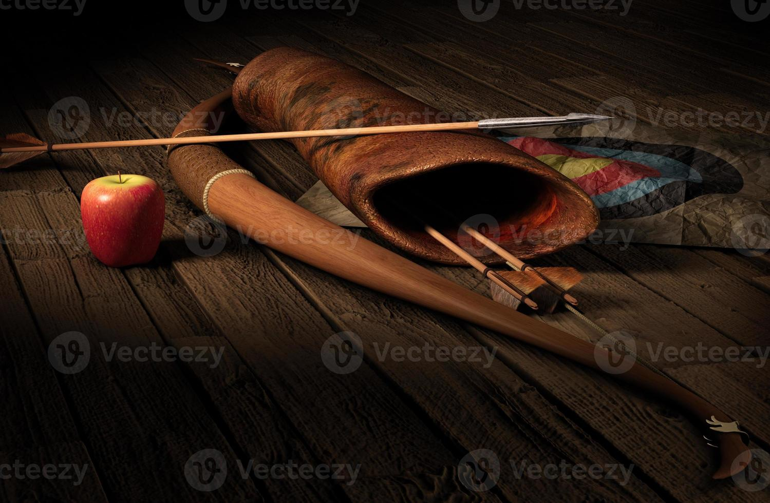 Archery set with a target and an apple on a wooden floor photo
