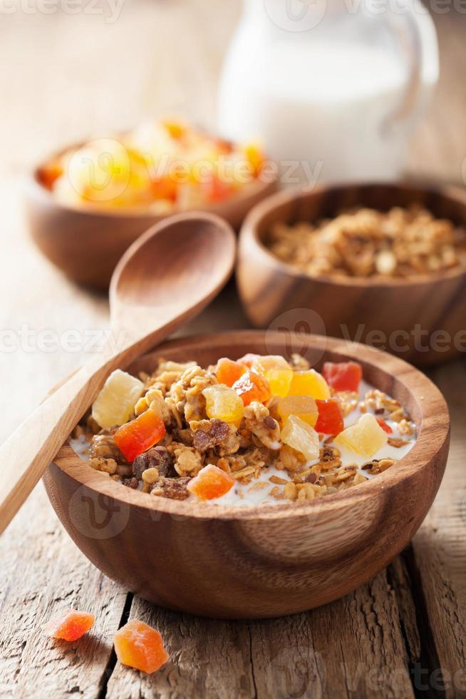 healthy granola with dry fruits for breakfast photo