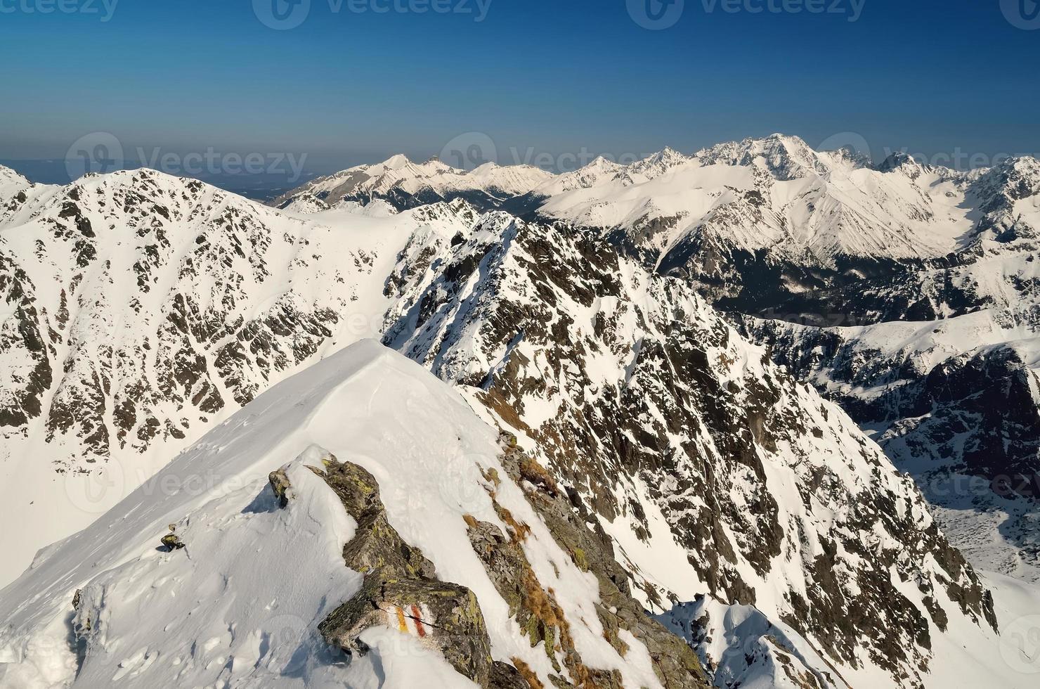paisagem de inverno nas montanhas. foto