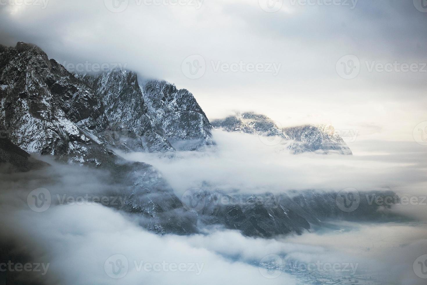montaña, nube, paisaje, nieve foto