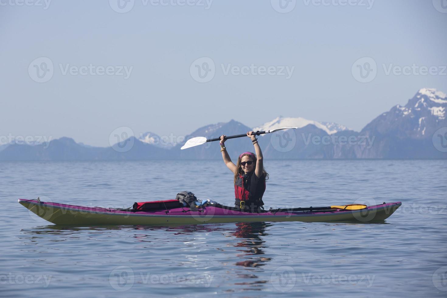 kayaker na baía da ressurreição foto