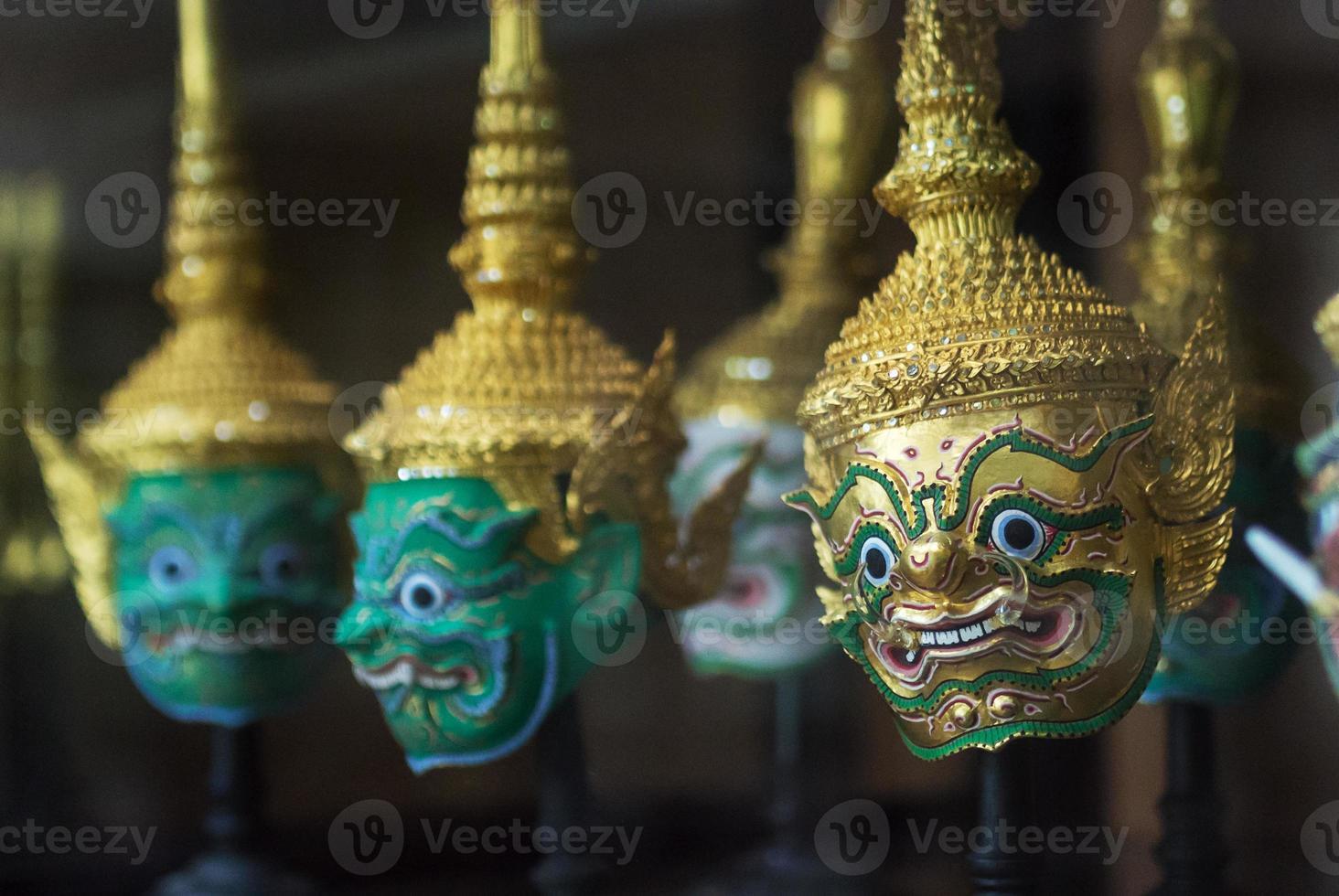 Row of Khon Mask in Bangkok,Thailand photo