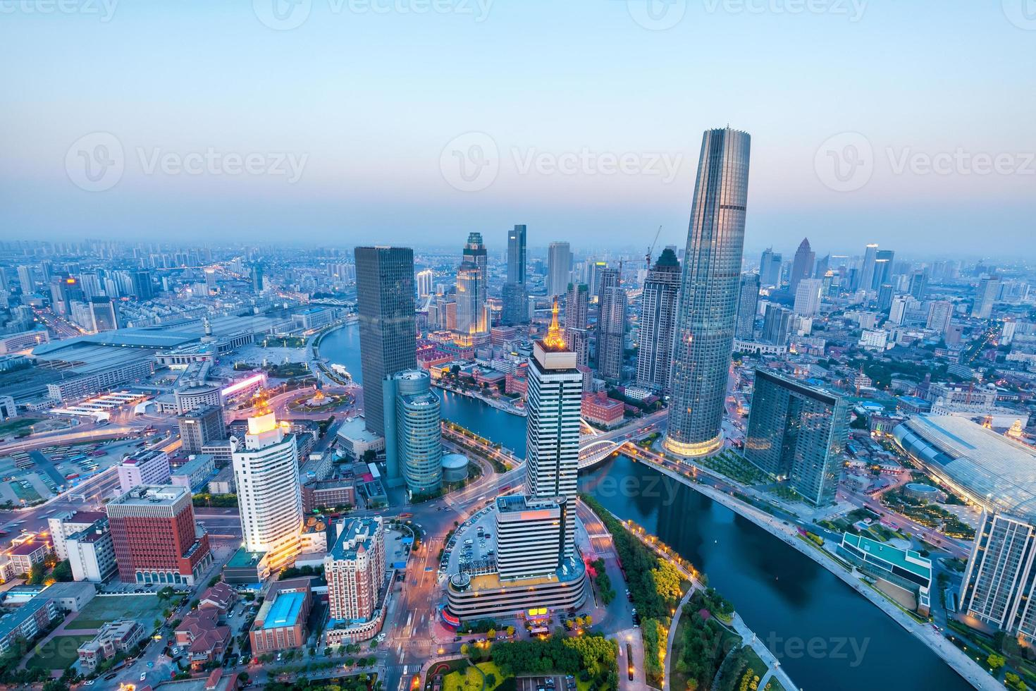 Vista aérea de Tianjin foto