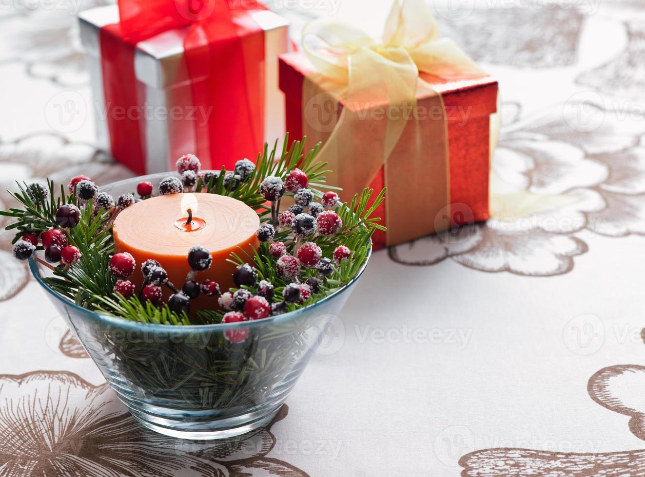 presente en decoración de invierno foto