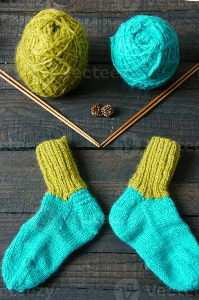 calcetines, medias, invierno, punto, hecho a mano foto