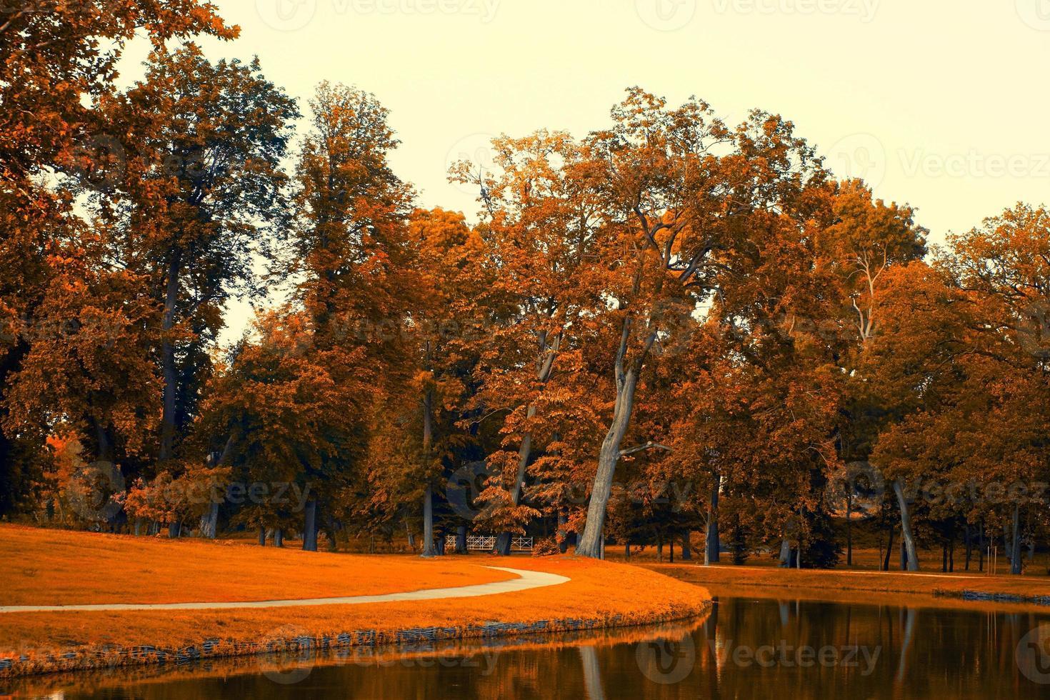 lago de otoño foto