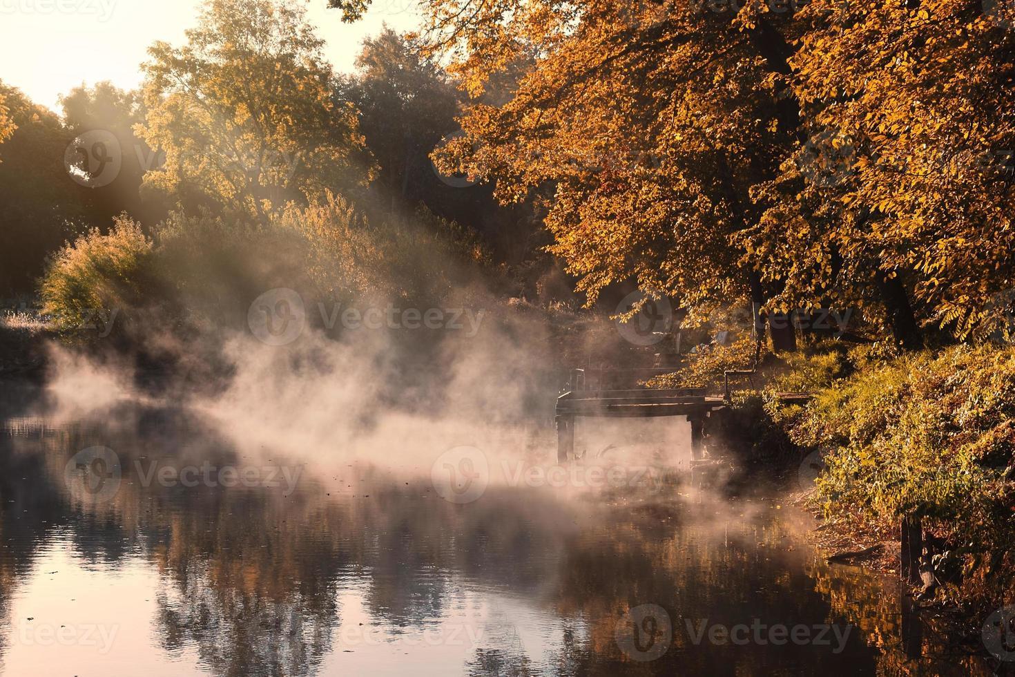 Morning autumn lake photo