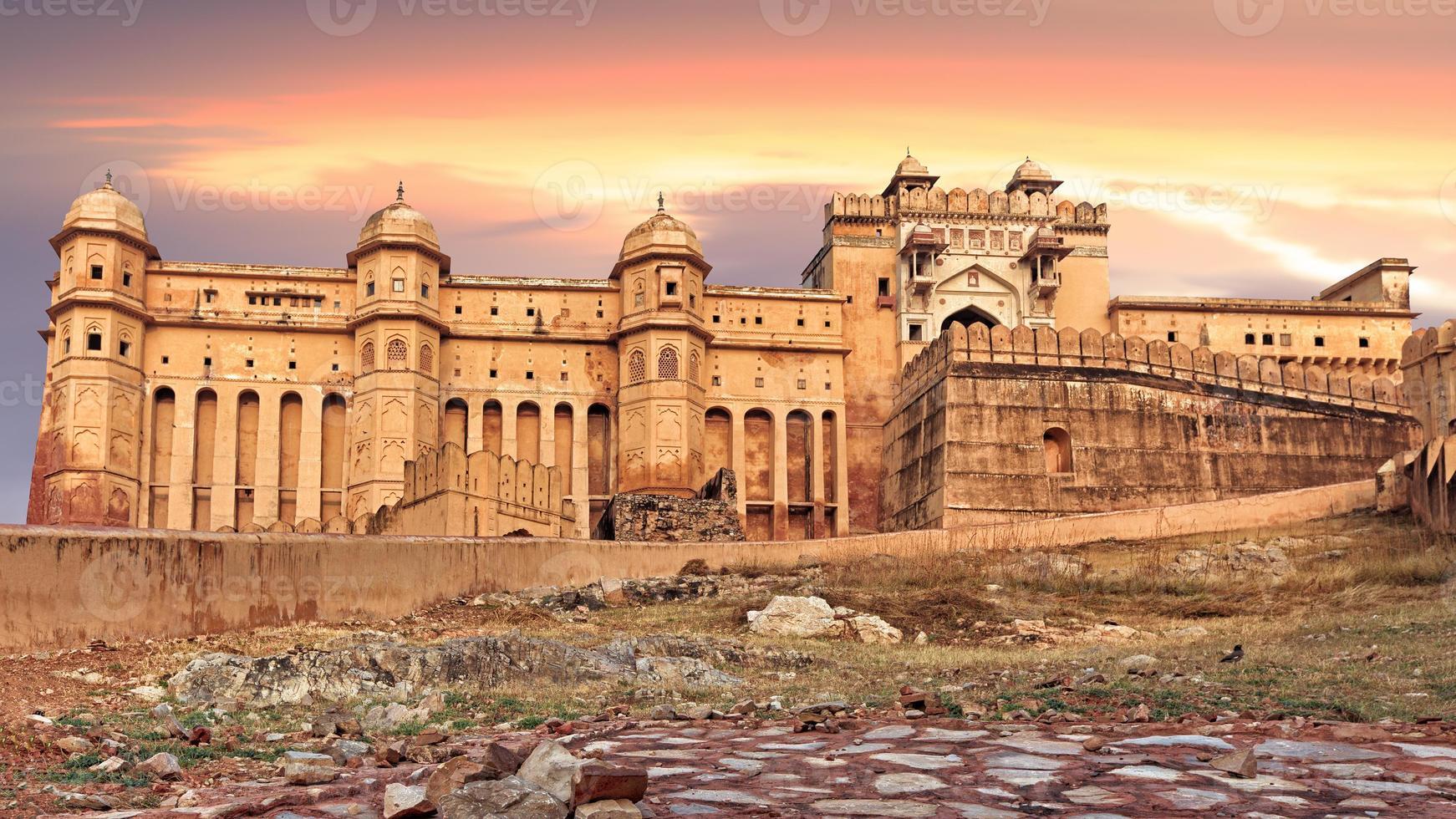 Vista del Fuerte Amber, Jaipur, India foto