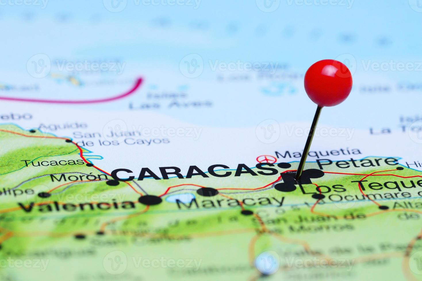 Caracas pinned on a map of America photo