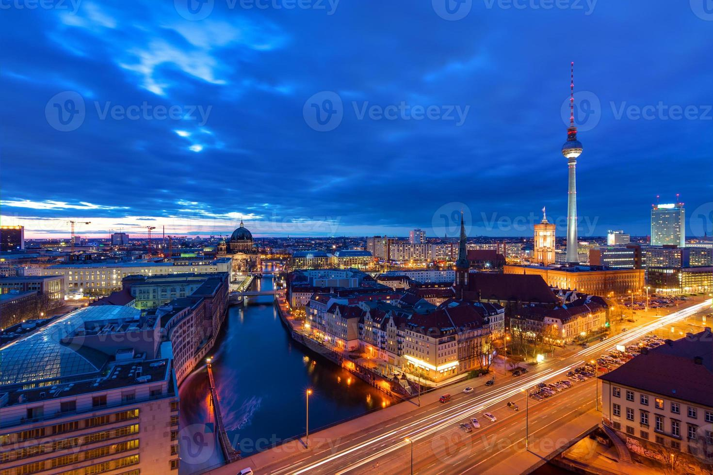 The center of Berlin after sunset photo