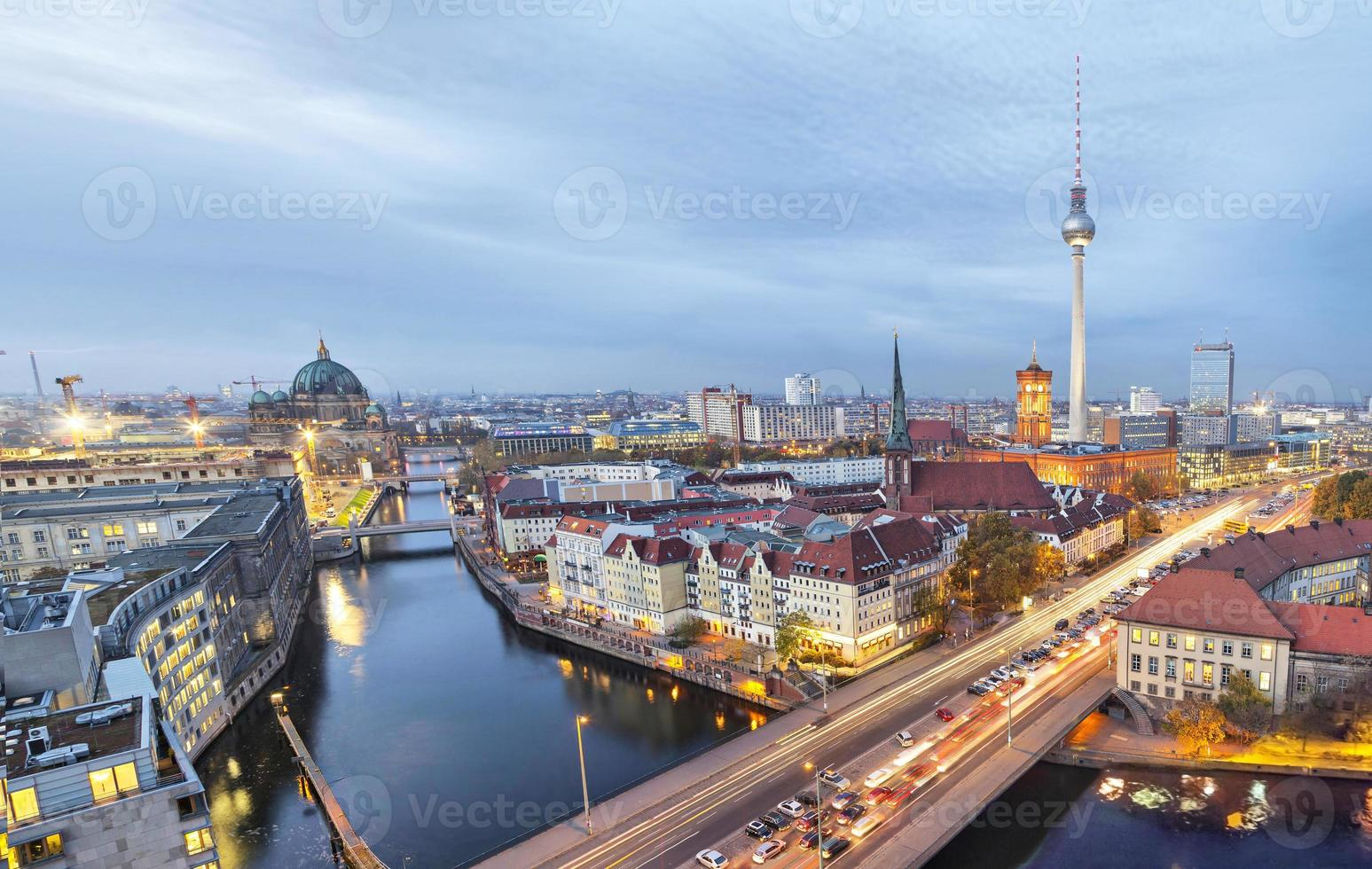 Evening in Berlin, aerial view photo