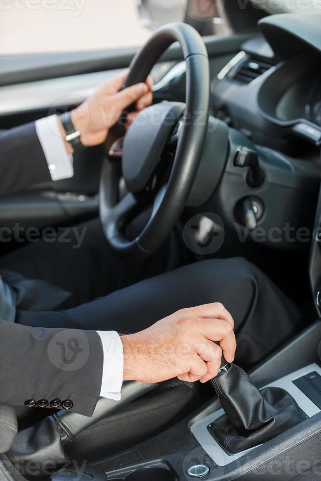 Driving a new car. photo
