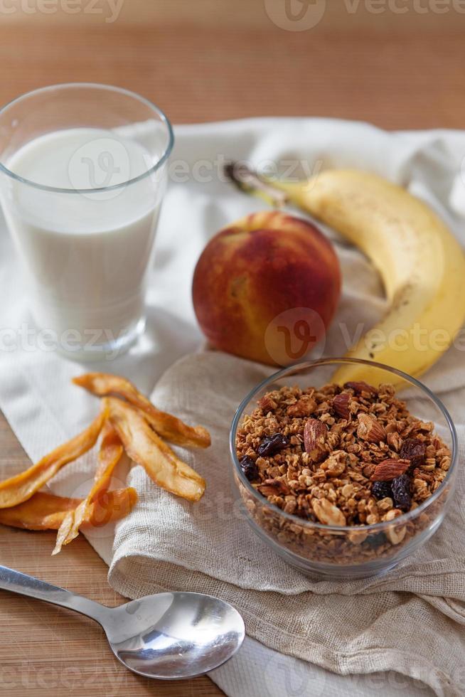 Granola with milk photo